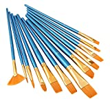 Paint Brush Set, LANIAKEA 12pcs Professional Paint Brushes for Watercolor/Oil/Acrylic/Crafts/Rock & Face Painting (Pearl Blue)