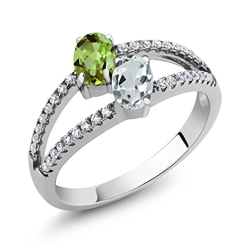 Gem Stone King Sterling Silver Green Peridot Sky Blue Aquamarine 2 Stone Women s Ring 1.34 cttw Available 5,6,7,8,9