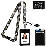 Abstract Gold and Black Floral Print Lanyard with PU Leather ID Badge Holder with 3 Card Pockets, Safety Breakaway Clip, Note Card. Carabiner Keychain Flashlight. Lanyard for Cruise or Work