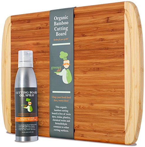Greener Chef Extra Large Organic Bamboo Chopping Board & Cutting Board Oil Value Gift Set - LIFETIME REPLACEMENT - Glasses Engraved Cheap