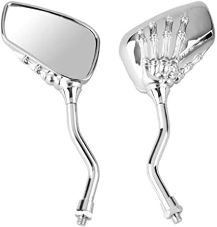 Dise/ño Universal De Calavera Esqueleto para Moto De 8//10 Mm HVdsyf Espejo Retrovisor para Moto Accesorios para Espejos Laterales Plata