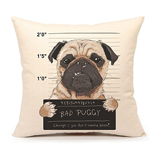4TH Emotion Funny Pug Dog Throw Pillow Cover Cushion Case Decorative for Sofa Couch 18 x 18 Inch Cotton Linen