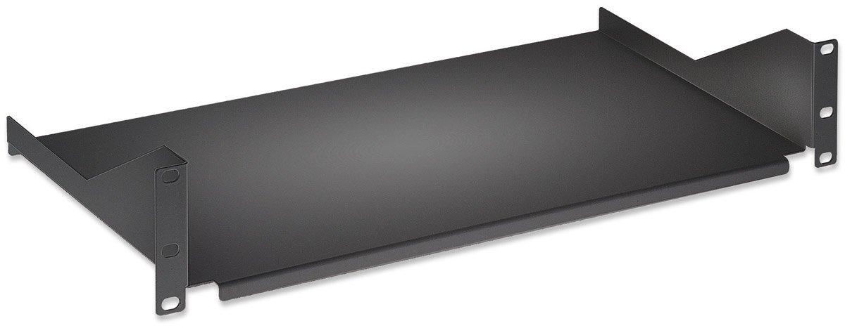 intellinet 19' 48, 3 cm Fachboden zur Frontmontage 1 HE (Montage an den beiden vorderen Profilschienen) 350mm tief nicht perforiert schwarz 715102