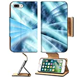 Luxlady Premium Apple iPhone 7 Plus Flip Pu Leather Wallet Case iPhone7 PLUS IMAGE 19863052 Digital abstract shapes glowing in blue tones
