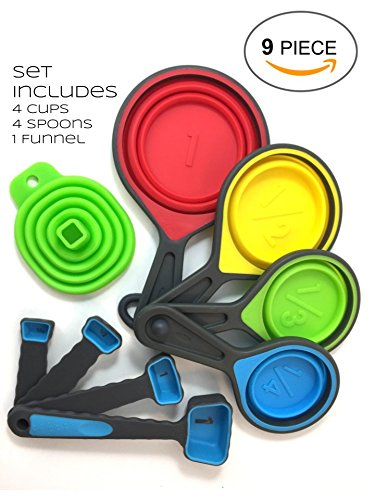 Measuring Cups by Warehouse 400 (Colorful Collapsible Space Saving BPA Free Silicone 9 Piece (Collapsible Cups Set)
