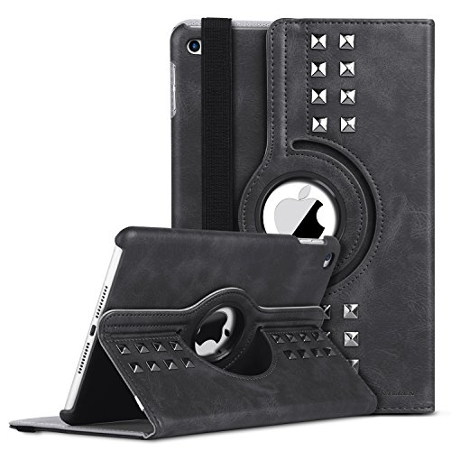 iPad Mini 4 Case, BENTOBEN 360 Degree Rotating Retro Studded Smart Cover with Auto Sleep/Wake Feature Faux Leather Magnetic Stand Protective Case Cover for Apple iPad Mini 4, Gray/Black (Ipad Smart Mini Jacket)