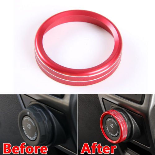 (WYQ Red Aluminum Alloy Trailer Switch Ring Cover Trim for Ford F150 2016+)