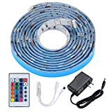 colored kitchen cabinets PryEU LED Strip Lights RGB Color Changing Remote Control 2M Waterproof 5050 SMD with 12V Power Supply for Kitchen Cabinets Lounge TV Bed Room Ambient Lighting
