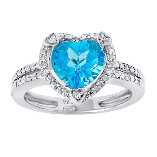 Lavari – 2.20 Ct Heart Natural Blue Topaz Diamond Accent 925 Sterling Silver Ring