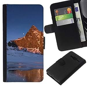 EJOY---La carpeta del tirón la caja de cuero de alta calidad de la PU Caso protector / Samsung Galaxy Core Prime / --Naturaleza Moon Mountain