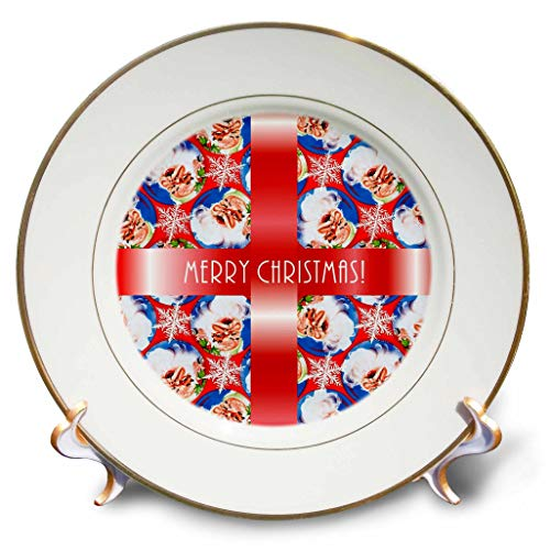 (3dRose Russ Billington Christmas Designs - Image of Santa Wallpaper Background with White Text on Red Ribbon - 8 inch Porcelain Plate (cp_298881_1))