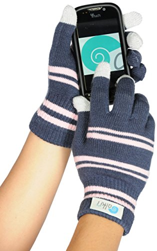 Womens texting glove for iPhone, iPad all touch screen devices, GreyPink