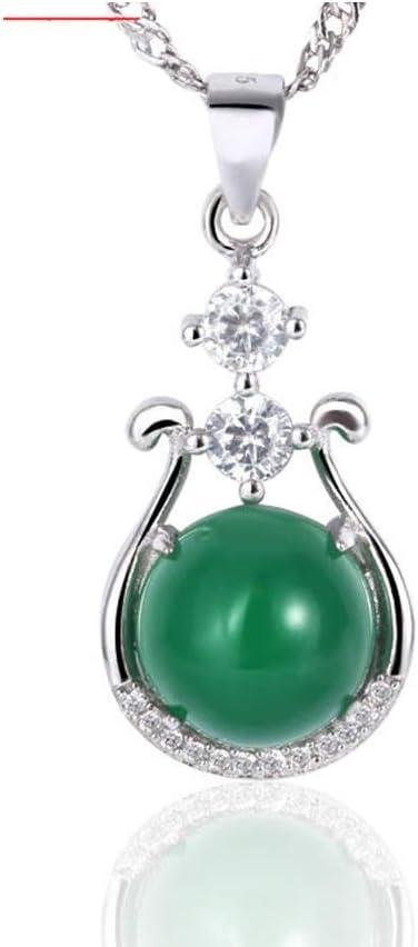 LJJY Collar de Plata de Ley 925 platinado Platino lágrima calcedonia Natural Colgante de joyería Verde Jade Jade Joyas cumpleaños Aniversario Regalo de San Valentín