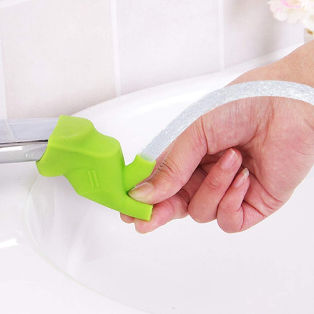 DSLSM Special Design 10 PCS Children Silicone Guide Trough Extender Faucet Washing Device (Color : Green)