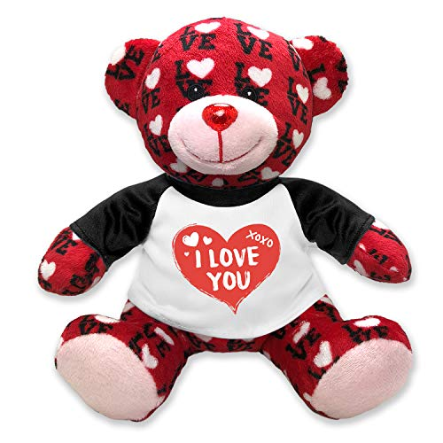 Flutter Hut I Love You Teddy Bear Hearts XOXO with Message T-Shirt Black Sleeves 9 Inches]()