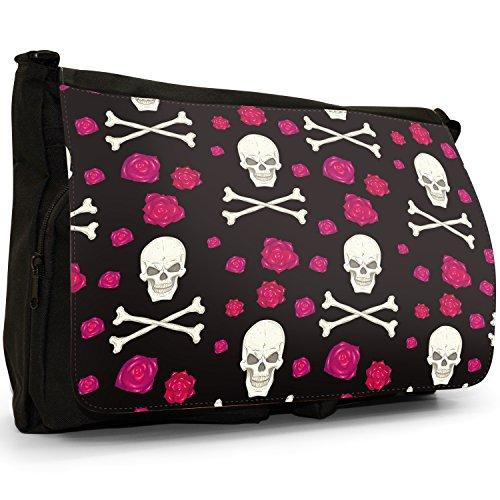 Laptop Flowers Shoulder Cross Bones Floating Large Skull Canvas Black amp; School Messenger And Red Bag w1fqaxWBAa