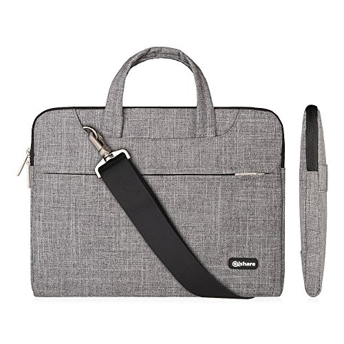 Qishare Laptop Case, Laptop Shoulder Bag, Multi-Functional Notebook Sleeve, Carrying Case with Strap for Chromebook MacBook HP Stream Samsung Acer Asus Dell Lenovo (15.6-16'', Gray Lines)