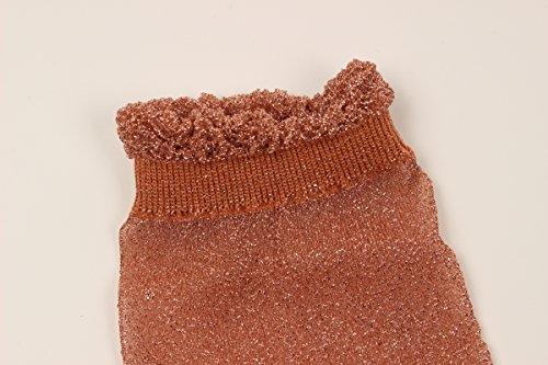 WOWFOOT Women's Lurex Shiny Socks Colorful Gritter Crew Socks for Girl (5 pair - top lace) by WOWFOOT (Image #5)