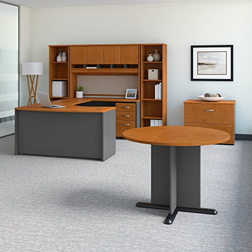 Bush Business Furniture Series C 60W Right Handed Bow Front U Shaped Desk with Storage and Conference Table in Natural Cherry