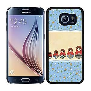 Funda carcasa para Samsung Galaxy S6 diseño estampado matrioska azul y beige borde negro