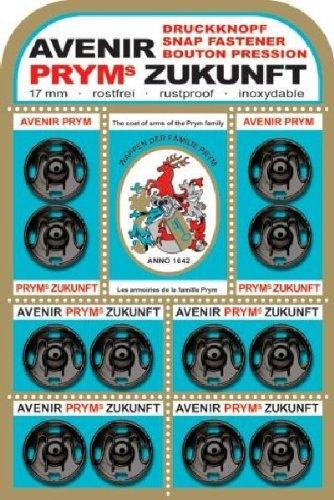 Prym 17 mm Zukunft Sew-On Snap Fasteners, Pack of 12, Brass Black PRYM_341135-1