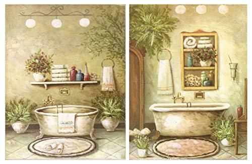 Cuadro de bano, Placas de Madera de Decoracion baneras/Set de 2 Cuadros de 19 cm x 25 cm x 4 mm unid Adhesivo FACIL COLGADO Adorno Decorativo Decoracion Pared hogar