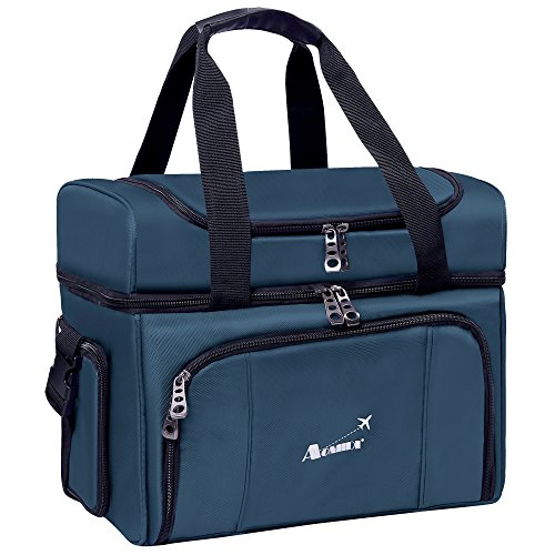 Cooler Bag - Dual Insulated Compartment. Aluminium foil, High-Density Insulation, 4 Heat-Sealed Removable Thick Peva Liners. Multiple Pockets - Soft Cooler Lunch Box (Blue) (Small Cooler Lunch Box compare prices)