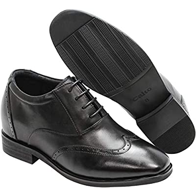 CALTO Men's Invisible Height Increasing Elevator Shoes - Black Leather Lace-up Brogue Wing-tip Oxfords - 3.2 Inches Taller - G51123   Oxfords