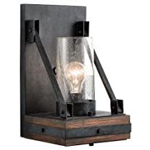 Kichler Lighting 43436AUB Colerne 1LT Wall Sconce, Wrought Iron and Auburn Stained Finish with Clear Seedy Glass Shade
