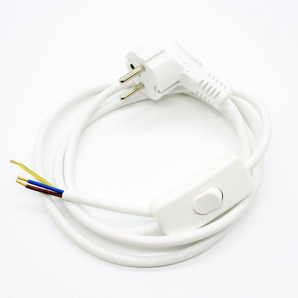 Interrupteur /à bascule C/âbles anschlussfertig C/âble de raccordement 1,50/m Blanc pour lampes de table ou Lampadaire 3/C/âbles CE VDE 250/V lampes C/âble fiche Schuko C/âble