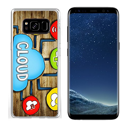 Luxlady Samsung Galaxy S8 Clear case Soft TPU Rubber Silicone IMAGE ID: 34402076 Aerial View of People and Cloud Computing Concepts by Luxlady