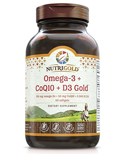 Omega-3 + CoQ10 + Vitamin D3 GOLD - 700 mg of Omega-3 Fish Oil with 2500 IU Vitamin D3 and 50 mg Kaneka Q10 (60 Softgels)