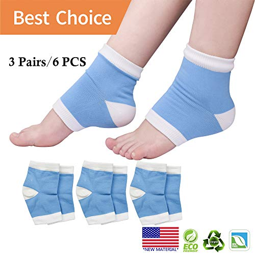 Moisturizing Socks, Heel Socks, Plantar Fasciitis Silicone Sleeve *New Material* Gel Socks for Dry Cracked feet, Reduce Pressure on Heel,Relief Heel Pain and Cracked Heel.(3 Pairs)