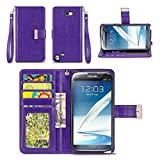 note 2 wallet case - Galaxy Note 2 Case, IZENGATE [Classic Series] Wallet Case Premium PU Leather Flip Cover Folio with Stand for Samsung Galaxy Note 2 (Purple)