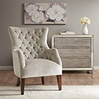 Hannah Button Tufted Wing Chair Taupe See below