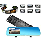 Universal Rearview Mirror Car Recorder Dual Lens Dash Cam 1080P HD Backup Camera High Definition Strengthen Night Vision 4.3 Inch Front and Rear