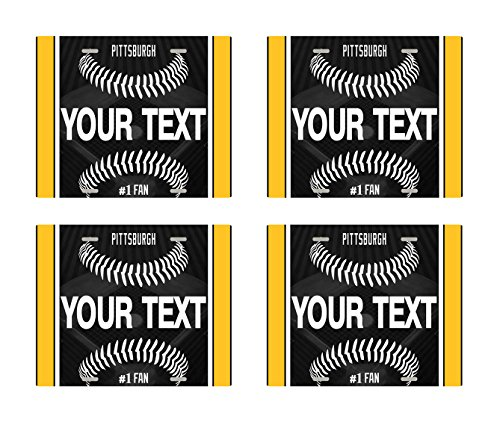 BRGiftShop Customize Your Own Baseball Team Pittsburgh Set of 4 Square Beverage Coasters (Pittsburgh Pirates Baseball Square)