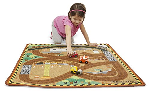 Melissa & Doug Round the Construction Zone Work Site Rug With 3 Wooden Trucks (39 x 36 inches)