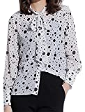 ZXFHZS Women Long Sleeves Bow Tie Neck Polka Dot Chiffon Blouse With Cami Top White XS