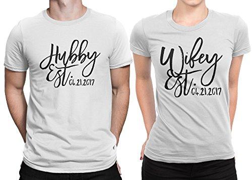 - Hubby est Wifey est Wedding Date Couple Matching T-Shirt Honeymoon Valentines Day Men Large/Women Medium | White - White
