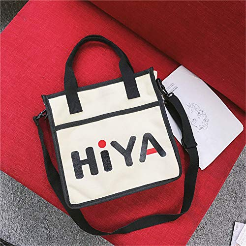 lona bolsa femenino de sexo estudiantes hombro Harajuku de japonesa hembra Disco de pequeña LANDONA bolso silvestre de Negro Cinturón Corea bolsa Beige B6qInExwz