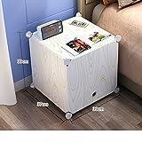 White simple bedside table,Simple modern plastic bedroom bedside storage cabinet assembled mini bedside cabinet locker-T