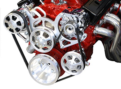 Serpentine Pulley Conversion Kits - SBC Serpentine Front Runner Pulley Drive Kit Polished/Chrome A/C Alternator P/S