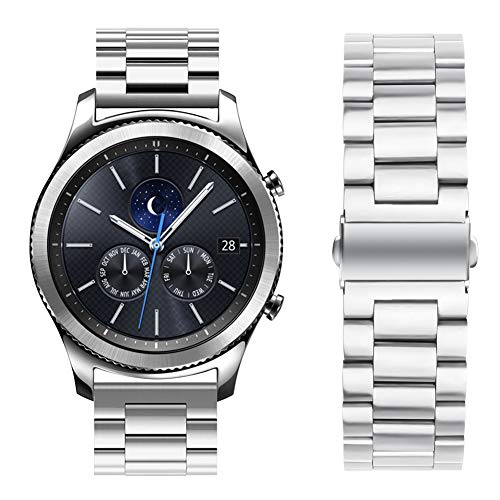 Oitom Stainless Steel Bands Compatible Galaxy Watch(46mm) /Gear S3 Classic/Gear S3 Frontier,Premium Solid Steel Watch Band Link Braceletfor Samsung Gear S3 Classic/Frontier Smart Watch (Silver)