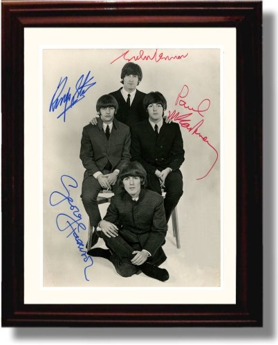 Framed Beatles Autograph Replica Print (Beatles Photo)