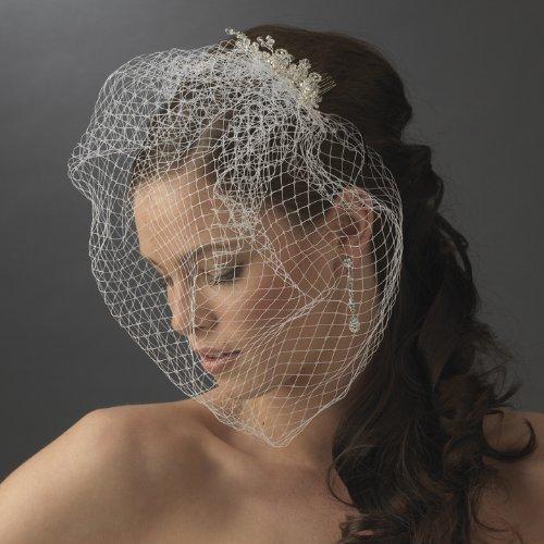 Amara Enchanting Swarovski Crystal & Rhinestone Flower Comb & Birdcage Veil by Fairytale Bridal Tiara