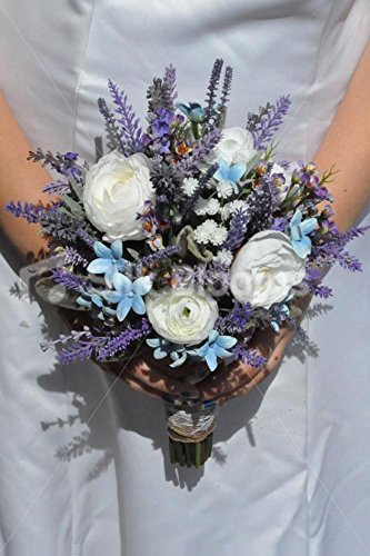 Bouquet Wildflower Wedding (Rustic Artificial Ranunculus and Stephanotis Bridal Bouquet with Wildflowers)