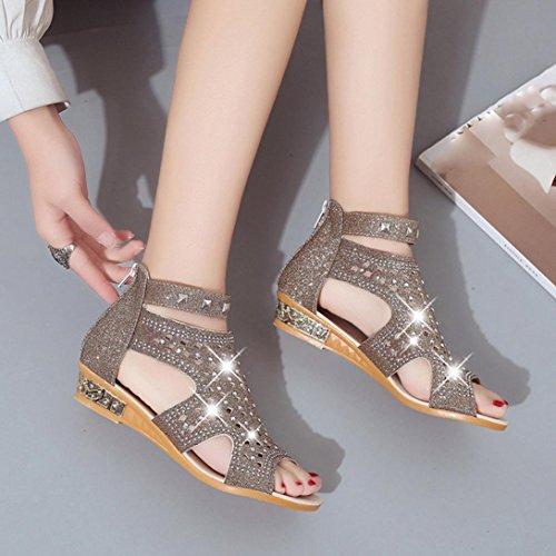 SIGNORE PICCOLE Sandali con zeppa dettaglio perline nero cinturino alla caviglia