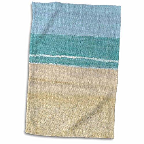 "3dRose Beach Scene Painting Sand Ocean Towel, 15"" x 22"""