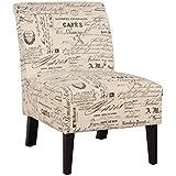 Linon 98320SCRPT01U Home Decor Linen Script Lily Chair, 21.5 W x 29.5 D x 31.5 H, Dark Walnut